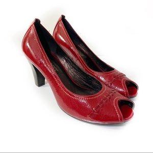 Ecco Red Patent Leather Peep Toe Heels